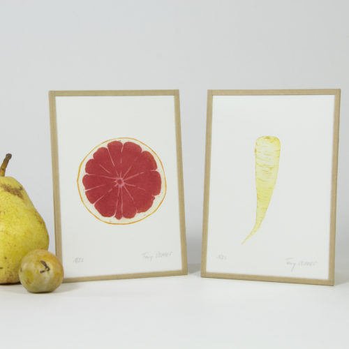 """Fany Perret - Gravure eau-forte - """"Fruits et légumes"""" - Pamplemousse Panais F"""